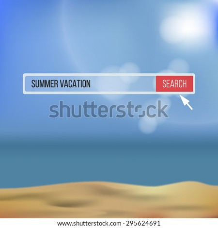 """Vector illustration of realistic sand beach with ocean and sun with lens flares. Search bar with """"Summer vacation"""" text - stock vector"""