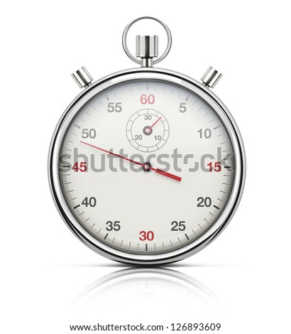 Vector illustration of realistic stopwatch or chronometer watch isolated on white background