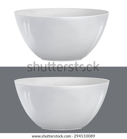 Vector illustration of realistic white bowl - stock vector