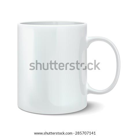Vector illustration of realistic white mug - stock vector