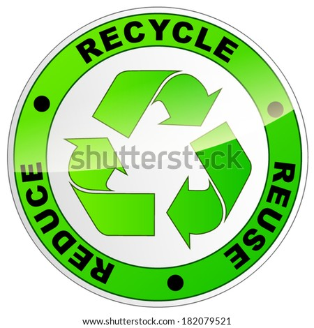 Vector illustration of recycle eco sign on white background - stock vector