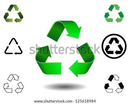 Vector Illustration Recycle Symbols Stock Vector 125618984