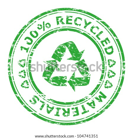Vector illustration of 100% recycled materials stamp isolated on a white background - stock vector