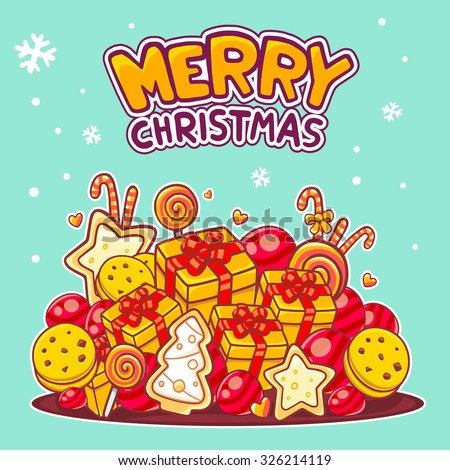 Vector illustration of red and yellow pile of christmas items and hand written text on green background. Hand draw line art design for web,site,banner,poster,board, postcard, print and greeting card.  - stock vector