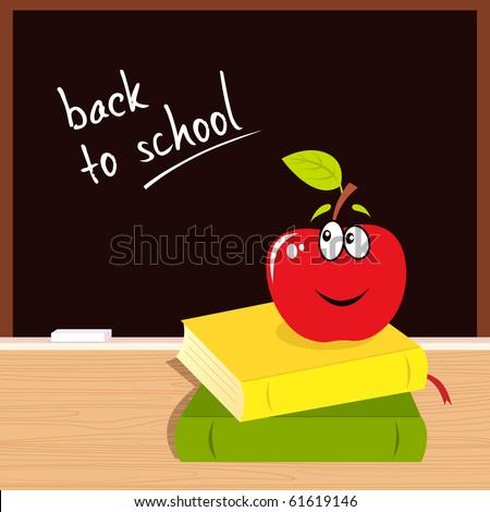 "Vector Illustration of red apple, books and black board with ""Back to school"" sign. - stock vector"