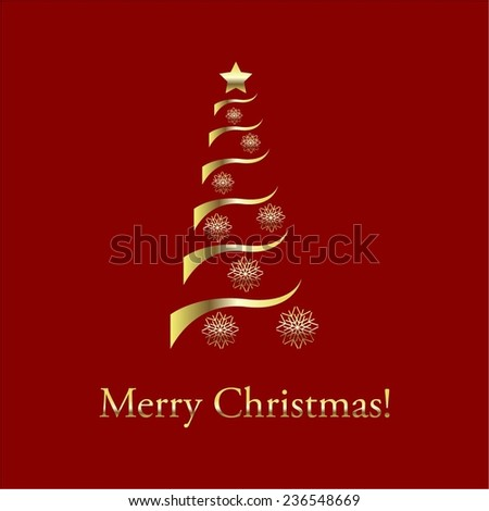 Vector illustration of Red background. Christmas tree. - stock vector