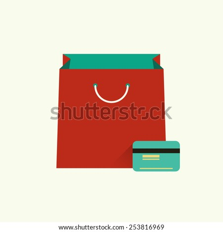 Vector illustration of red bag  for shopping and credit or debit plastic card. Shopping concept. Flat design style. Infographic element - stock vector