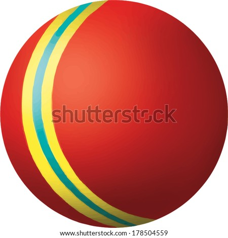 Vector illustration of Red ball with yellow and blue stripe. Children toy isolated on white background - stock vector
