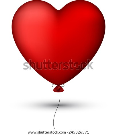 Vector illustration of red balloon heart. eps 10. Classical smooth style.  - stock vector