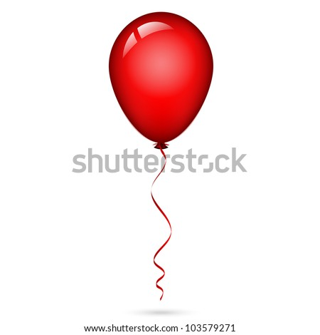Vector illustration of red balloon with ribbon - stock vector