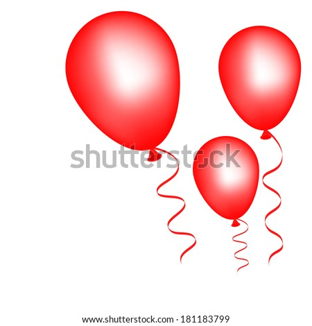 Vector illustration of Red balloons on a white background