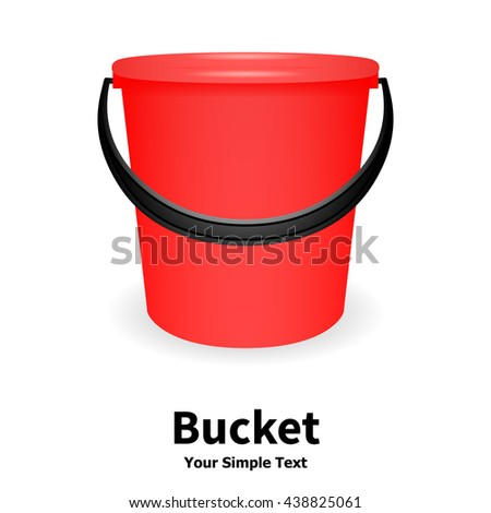 Vector illustration of red bucket isolated on white background. Realistic plastic bucket with a black handle. Bucket for watering. - stock vector
