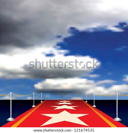 vector illustration of red carpet with stars - stock vector
