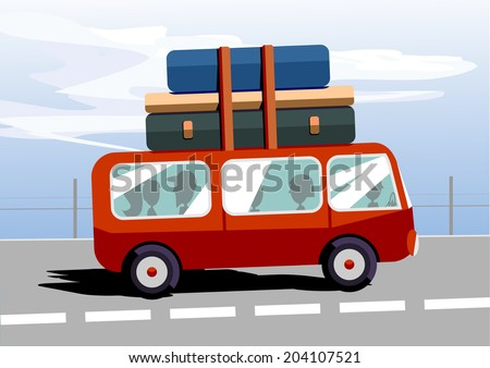 Vector illustration of red cartoon bus. Solid fill only no simple gradients, no gradient mech. - stock vector
