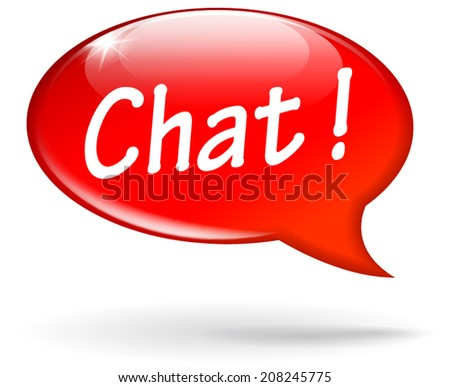 Vector illustration of red chat speech bubble