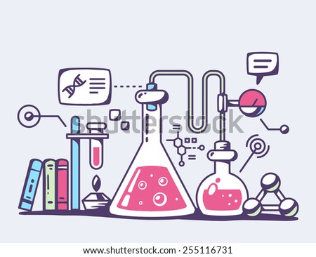 Vector illustration of red chemical laboratory flasks on gray background. Bright color line art design for web, site, advertising, banner, flyer, poster, board and print. - stock vector