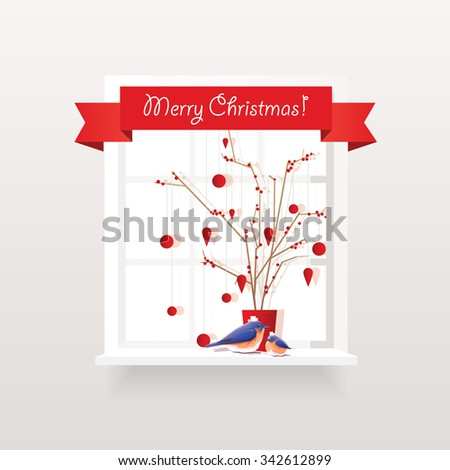 Vector illustration of red Christmas window decorations with red berrie branches arrangement, hanging ornaments and two cute bluebirds - stock vector