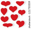 Vector illustration of red cut out of paper stickers different shapes of heart - stock photo