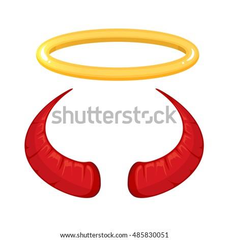 Angels Halo Devils Horns Vector Stock Vector 157562519 - Shutterstock