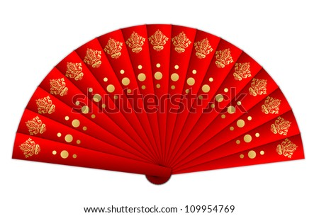 Chinese Fan Vector Vector Illustration of Red Fan