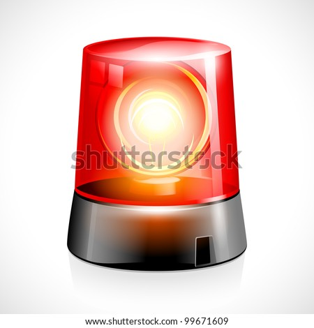vector illustration of red flashing emergency light - stock vector