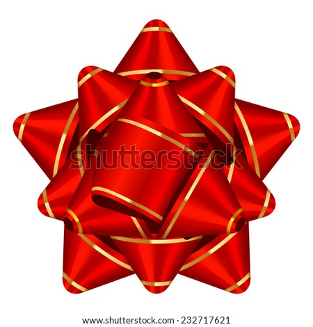 Vector illustration of red & gold bow - stock vector