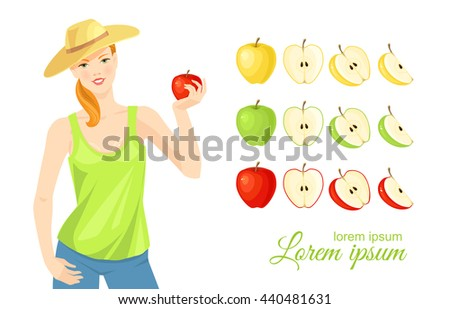 Vector illustration of red, green and yellow ripe sliced apple isolated on white background.  - stock vector