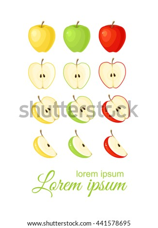 Vector illustration of red, green and yellow ripe slices apple isolated on white background.  - stock vector
