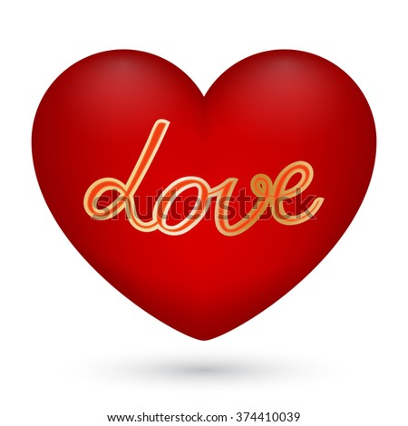 Vector illustration of red heart with text love in the center on white background for Valentine's Day. - stock vector