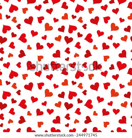 Vector illustration of red hearts on white background. Seamless pattern  - stock vector