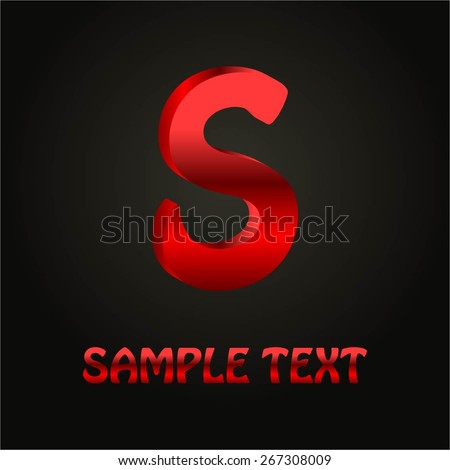 Vector illustration of Red letter S 3 D format on a black background. - stock vector
