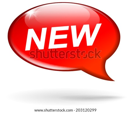 Vector illustration of red new speech bubble