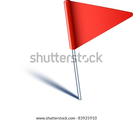 Vector illustration of red pin flag. - stock vector