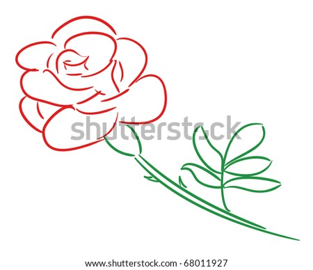 vector illustration of red rose - stock vector