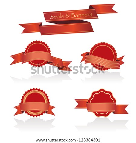 Vector illustration of red seals and banners.
