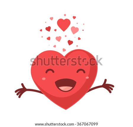 Vector illustration of red smiling heart on white background. Art design for Valentine's Day greetings and card, web, banner, poster, flyer, brochure, print.   - stock vector