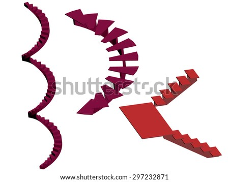 Vector illustration of red spiral stairs, staircase with landing. Concept. Isolated. EPS 8. - stock vector