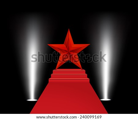 Vector illustration of red star on a red carpet  - stock vector