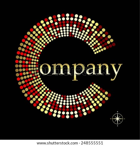 Vector illustration of Red - the color of gold on black. Compass. The Company. - stock vector