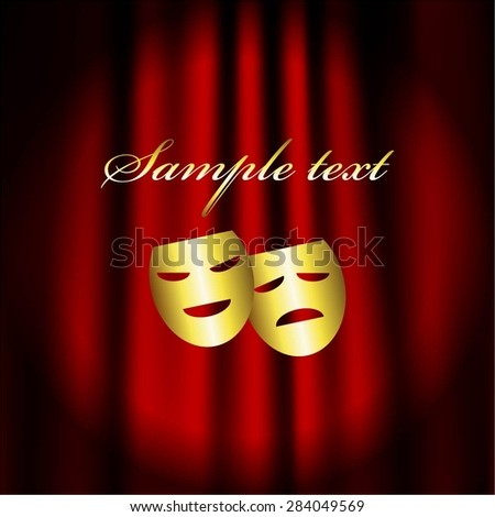 Vector illustration of Red theater curtain. Masks. Gold text. Theatre. - stock vector
