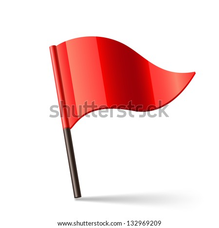 Vector illustration of red triangular flag - stock vector