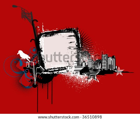 Vector illustration of red urban background with Design elements over grunge stained frame. - stock vector