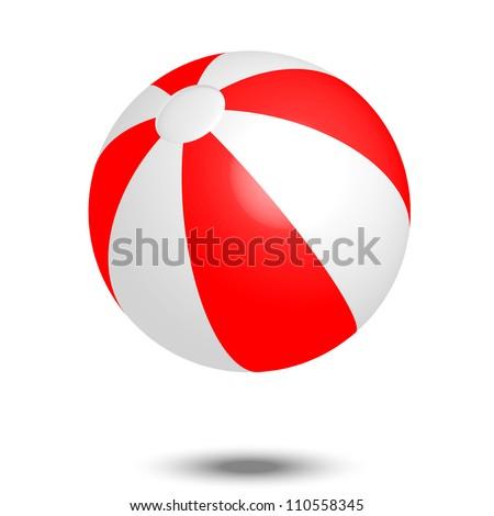 Vector illustration of red & white beach ball - stock vector