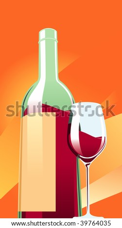 Vector illustration of red wine bottle with a glass.