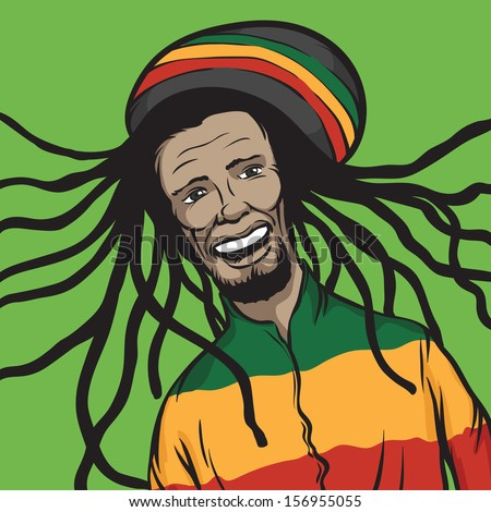 Vector illustration of reggae man smiling. Easy-edit layered vector EPS10 file scalable to any size without quality loss. High resolution raster JPG file is included. - stock vector