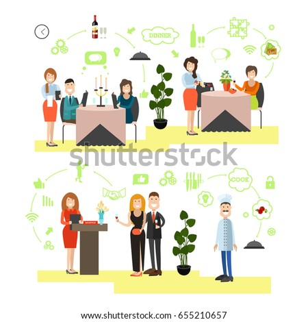 Restaurant Background With People vector illustration restaurant staff customers males stock vector