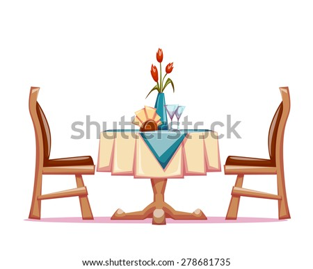 Vector illustration of restaurant table with two chairs and vase with flowers.