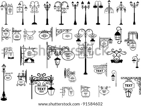 Vector illustration of retro and modern street signs and lanterns - stock vector