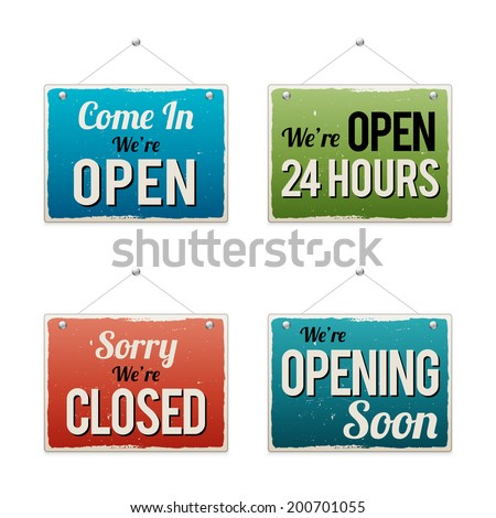 Vector illustration of retro business open signs. - stock vector