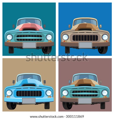 vector illustration of retro cars. the old pickup - stock vector